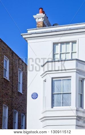 London England - January 27 2012: the Agatha Christie house in Sheffield terrace