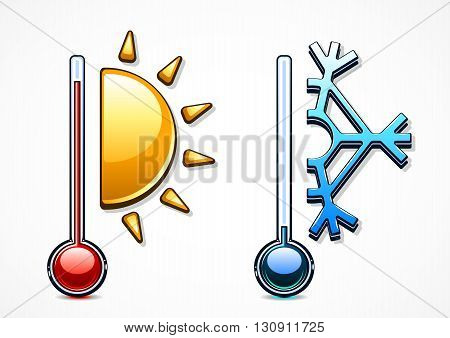 Two thermometers with cold and warm temperatures