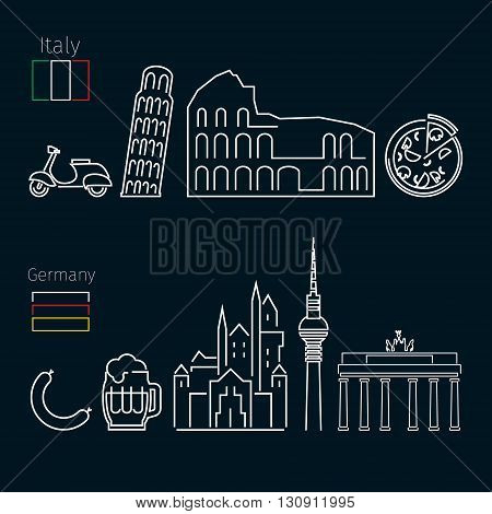 Concept of travel or studying Italian on black background. Italian and German flags. Flat design, lineart vector illustration