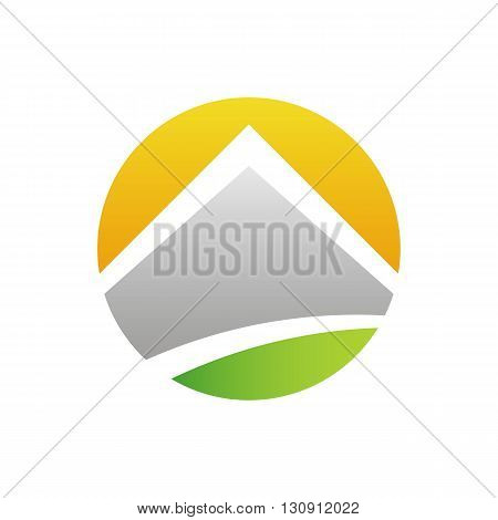 Solar energy stylized house vector illustration isolated on white background.