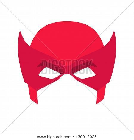 Super hero red mask. Supperhero mask for face character in flat style. Masks of heroic, savior or superhero. Comic super hero mask vector illustration. Super hero photo props. Super hero face