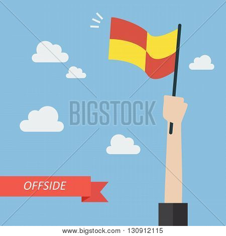 Offside trap of soccer. Vector illustration concept