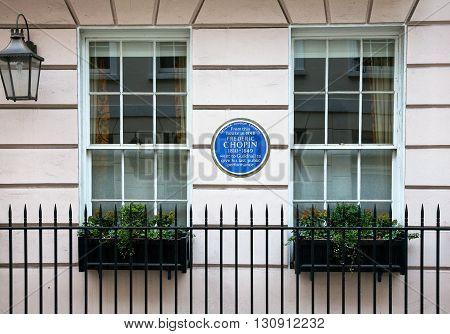 London England - January 28 2012: The Frederic Chopin house