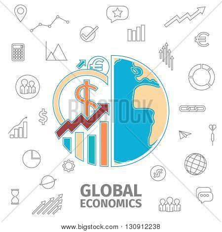 Global economics thin line concept. Globe and coins. Diagram, Coin and arrows in the form of the globe. Global business icon set. Flat line vector illustration.