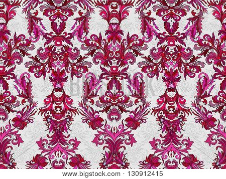 Luxury floral damask wallpaper. Seamless pattern background. Vector illustration, Bright vinous tone ornate pattern on white backdrop.