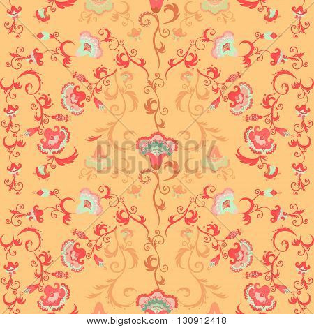 Seamless intricate vector floral pattern with stylized Asian or Indian flowers