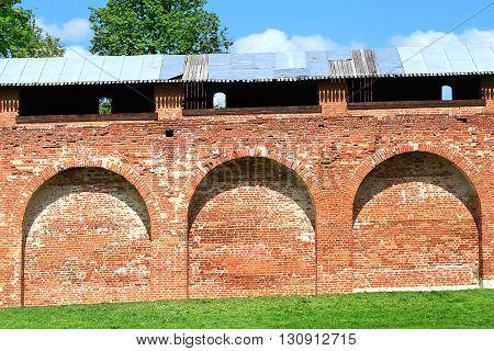 Ancient massive red brick wall of Kremlin in Zaraysk Moscow region