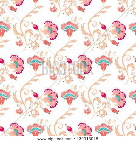 Seamless oriental style vector pattern with detailed stylised flowers