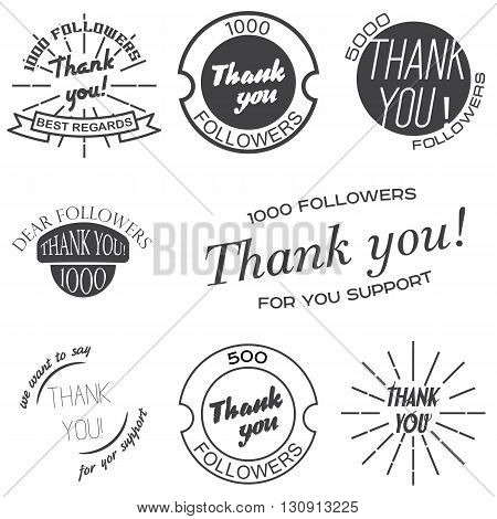 Set of vintage badges with Thank you, banners and stickers. Vector illustration.
