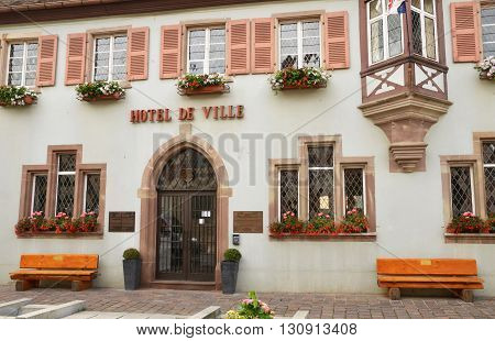 Eguisheim France - june 19 2015 : the old and picturesque city hall in summer. Here born the pope Leon 9 in 1002