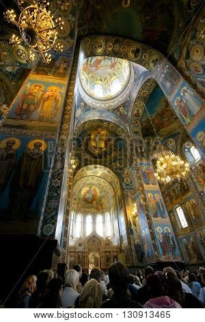 ST PETERSBURG, RUSSIA - JUNE 12, 2008: Interior of Church of the Savior on Spilled Blood. Architectural landmark and monument to Alexander II. Church contains over 7500 square meters of mosaics.