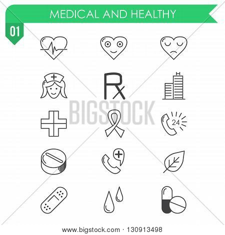 Set of medical and healthy icons on white background. Illustration in vector.