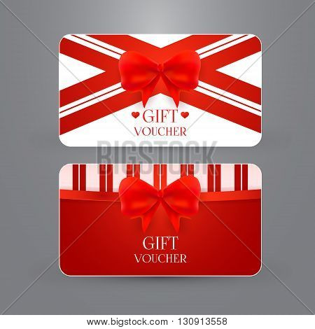 Gift voucher template with bow. Vector illustration. EPS 10