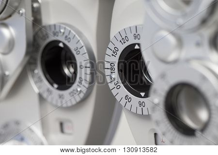 Detail of a phoropter ophthalmic testing device machine