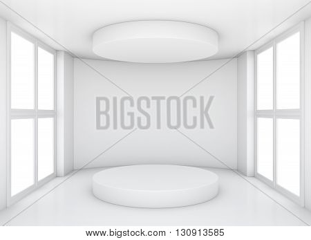 White clean exhibition room with round pedestal and top cap. 3d rendering