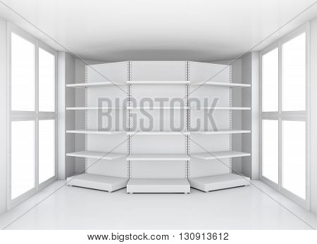 Realistic empty supermarket shelf in room with windows, 3D illustration