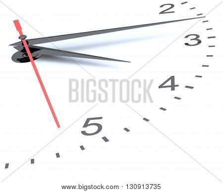 Closeup of hands on clock face. 3D illustration