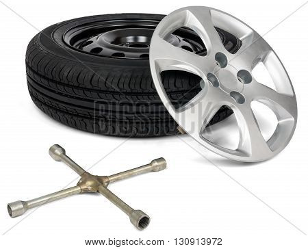 Car service. Car tyre with wheel cap and screwdriver. Isolated