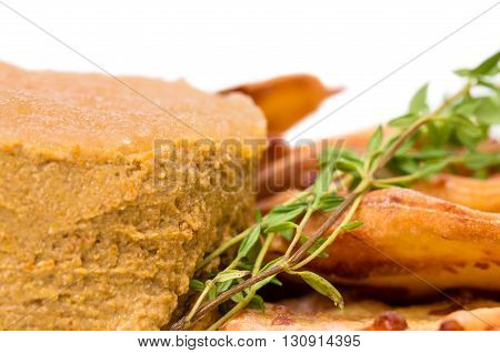 Goose liver pate and cheese scones. Macro. Photo can be used as a whole background.