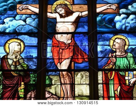 Longueil France - july 17 2015 : stained glass window of the church
