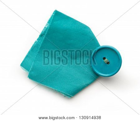 Piece Of Blue Cloth With Button