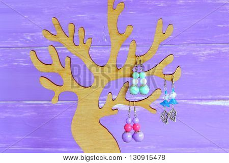 Organize earrings with holders and organizers. Jewelry tree stand, perfect for necklaces, earrings, rings. Display holder tree, organizer.