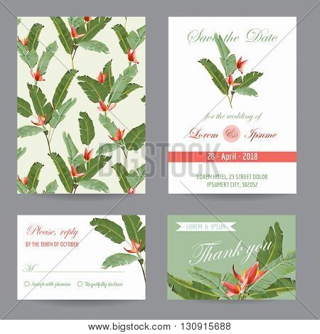 Wedding Invitation. Congratulation Card Set. Save the Date. Tropical Leaves and Flowers. Vector Postcards.