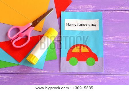 Dad greeting card. Happy dad's day wishes. Happy father's day greeting card. Children's handmade paper crafts. Father's day crafts for kids