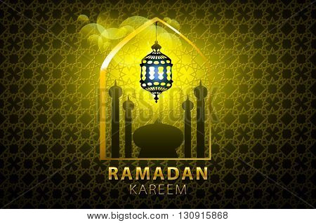 Ramadan Kareem Greeting Card Glowing Gold Arabic Lamp - Translation Of Text : Ramadan Kareem - May G