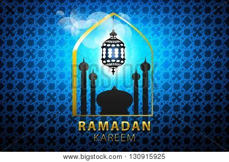 Shiny Blue Arabic Lamp On Stars And Moons Decorated Background For Holy Month Of Muslim Community Ra