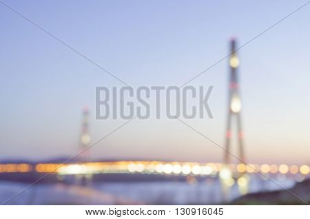 Night Sight With Bay Bridge In Vladivostok Russian Island