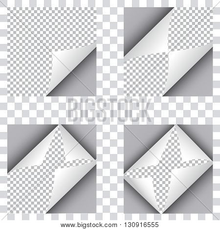 Set of four curl papers. Four papers folded from different corners. White papers sticker. Elements for advertising isolated on transparent background.