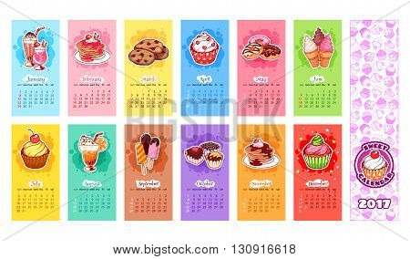 Calendar for 2017 year with sweets. Week Starts Sunday. Delicious cartoon sweets. Vector calendar template for kids.