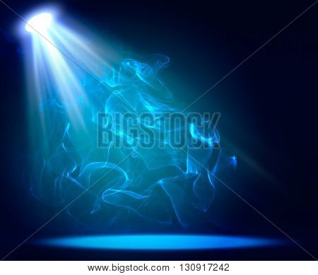 Spotlight blue on smog background. Abstract backdrop with copy space