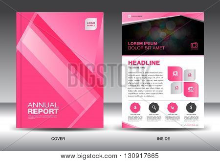 Pink Annual report template cover design brochure flyer info graphics elements Layout template design