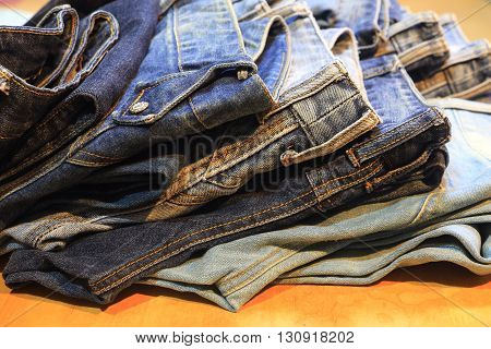 Jeans trousers ,trousers Jeans on the table
