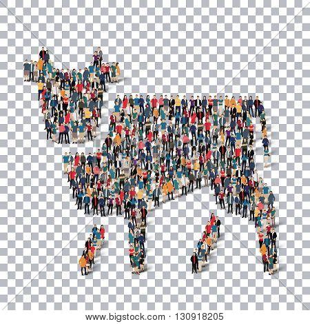 A group of people in the form of a cow ,  isometrick , web infographics concept  illustration of a crowded square, flat 3d. Crowd point group forming a predetermined shape. Creative people.Transparency grid. 3D illustration.