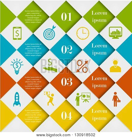 Abstract digital rhombus infographic template. Diamond vector illustration can be used for workflow layout, number options, web design. Business concept with 4 options, parts, steps or processes