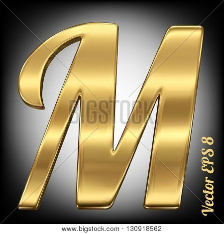 Vector letter M from gold solid alphabet. Eps 8 using mesh.