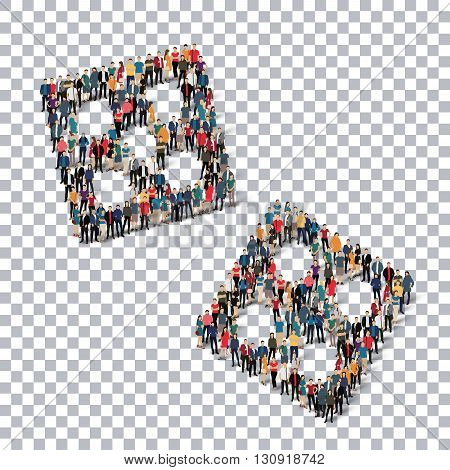 A group of people in the form of  dice, transparent,   isometrick , web infographics concept  illustration of a crowded square, flat 3d. Crowd point group forming a predetermined shape. Creative people.Transparency grid. 3D illustration.