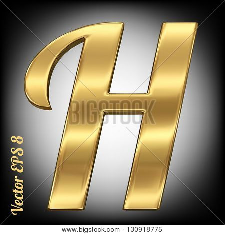 Vector letter H from gold solid alphabet. Eps 8 using mesh.