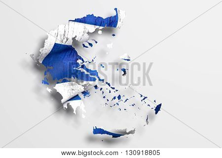 Silhouette Of Greece Map With Flag