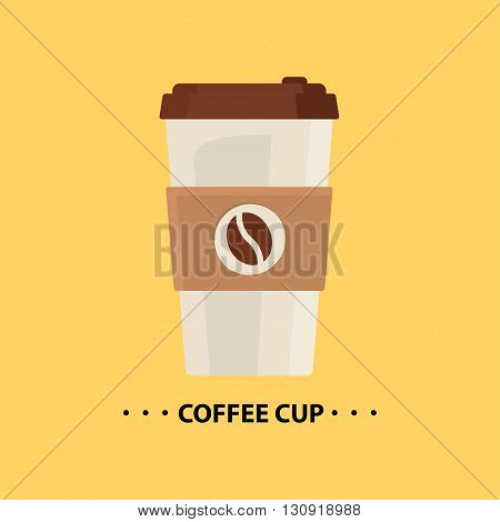 Vector flat Coffee cup icon. Disposable coffee cup icon with coffee beans logo