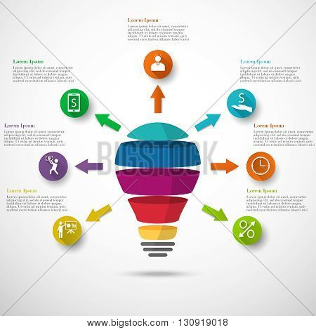 Light bulb infographic with arrows, icons and text. Template for circle diagram, graph, presentation and round chart. Business concept with 7 options, parts, steps, processes.