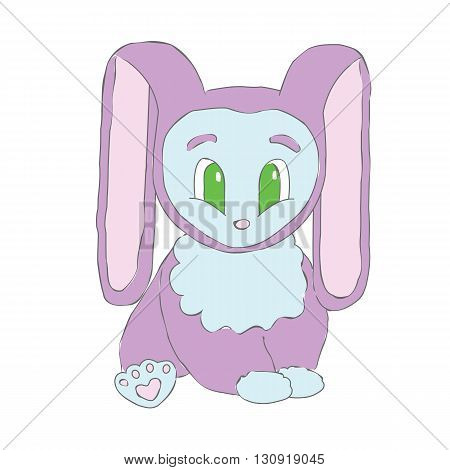 Cute cartoon Bunny. Bunny with very long ears. Pretty happy, surprised Bunny.