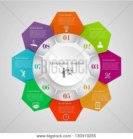 Infographic circle hexagon flowchart template with 8 options, icons and text. Can be used for workflow layout, banner, chart, web design