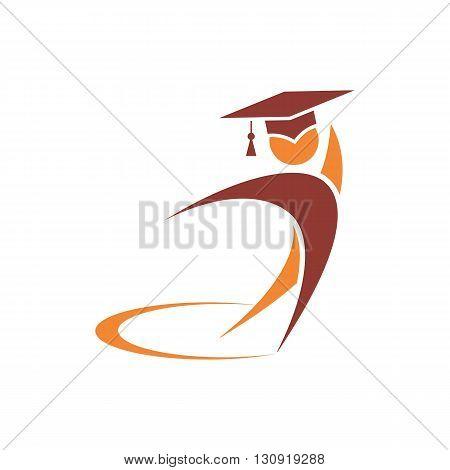 Stylized teacher symbol icon vector illustration isolated on white background.