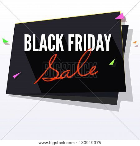 Black Friday Sale paper banner. Great bright background for your offers, promotional posters, advertising shopping flyers and discount banners. Vector speech bubble