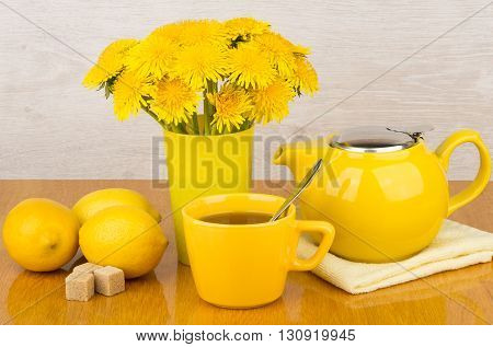 Tea With Sugar And Lemon, Bouquet Of Dandelions