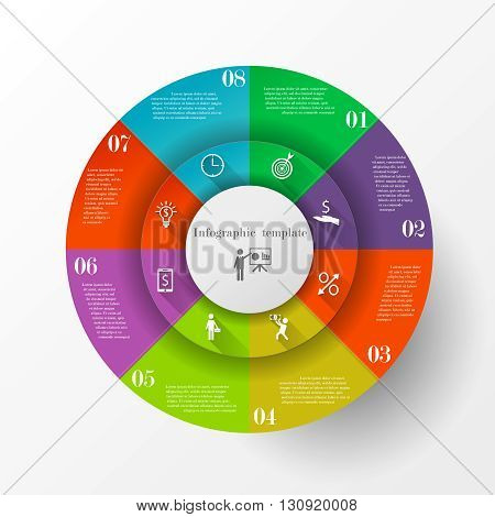 Abstract circle infographic template with 8 options with icons. Can be used for workflow layout, parts, steps or processes, banner, chart, web design. Template for cycle diagram, graph and presentation
